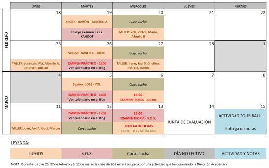 Calendario fin 2ª eval